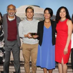 Erin Byrne Rousseau, HST Co-Director Emery Brown, Christian Landeros, Aditi Gupta, Claudia Elena Varela, and Lucy Hu at the 2019 MIT Awards on May 13.